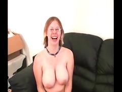 Big boobed geek dildos herself till she cums