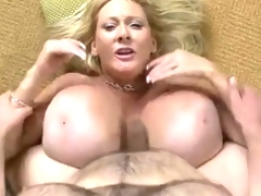Mature babe with fake giant mambos get fucked