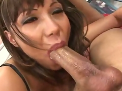 Horny Asian Ava Devine bangs snatch on studs fuck stick after a sloppy blowjob