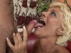 Horny grandma goes crazy hot up a young man's throbbing cock