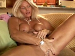 Bazaar granny with big tits masturbates