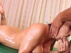 Naked MILF Claire Dames with fake huge titties and smooth pussy shows off her nice body to lucky dude on massage table. She acquires her snatch licked and then drilled hard. Shes so fucking sexy!