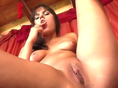 Brunette Rosee takes dildo up her love box after hot striptease