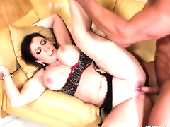 Sara Jay with juicy bottom and bald snatch receives some in steamy sex action with Johnny Castle