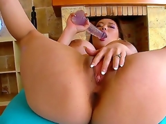 Hot Asian Tiger Benson know that angel lies in a massive tits thats why she is showing her unnaturally big breasts and playing with her soaked and dirty pussy with very big dildos.