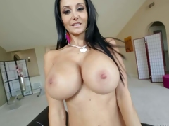 Topless milfyf brunette Ava Addams in panties and shoes is proud of her unthinkably huge melons. She shows off her killer boobs with smile on her face. She can't live without playing with her oiled up tatas
