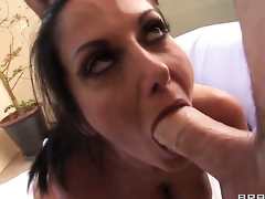 Ava Addams gives head to James Deen before she gets drilled in her back porch