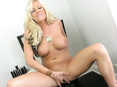 Eden Adams with massive jugs and trimmed cunt dildo fucking her twat