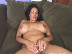 Saucy MILF with heavy breasts uses them to fuck a hung chap