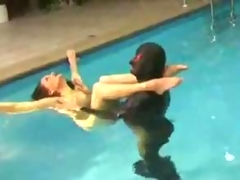 Hot rubber babe in the pool film