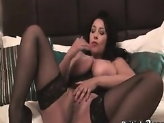 Breasty British Beauty In Stockings Masturbates