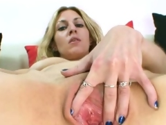 Filthy blonde sam speculum pussy gape solo action.