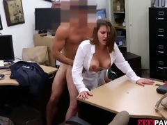 Breasty business minded MILF gives a bj
