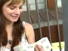 Amazing amateur girl takes money and rides a load of shit less public