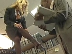 Busty blonde office girl gets fucked by moonless cock