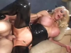 Biggest titty slut in black latex fucked