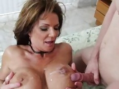 Busty babe Deauxma gets her tits plastered with cum