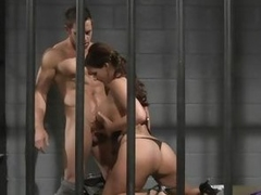 Hot brunette cages her man and fucks him