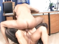 Fat chick screwed by two guys in office