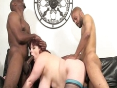 Four monster black jocks stuffing horny big tits fat chick
