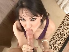 Milf in a covetous purple dress sucks your cock