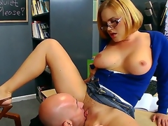 Krissy Lynn wants to make her boyfriend, Jonny, satisfied, because he is sick and tired of school. So she takes off her bra and starts working with his delicious dagger. Enjoy