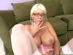Tempting and provocative blonde hottie Carly Parker with gigantic juicy knockers and arousing glasses in stockings teases her partner and takes on his stiff meaty wang in point of view