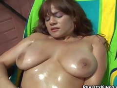 Brown haired honey Danni Daire shows off her big natural boobies outdoors and then takes cock indoors. She gets her nice moist titties rubbed and then gives face hole job. Watch concupiscent busty girl have fun