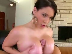 So sexual and so naughty woman Noelle Easton is going to play with big cock of pretty fellow. She is using her massive boobs, magic mouth and tender hand to caress his dick.