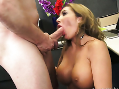 Richelle Ryan with huge melons and hairless beaver shows hardcore tricks to Mark Ashley with excitement