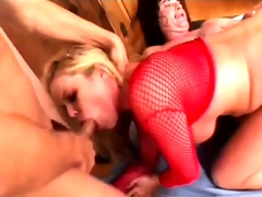 Stacked blonde relishes the wild hardcore three-some and swallows a biggest cumload
