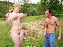 Meet Lea, this teenager has a couple of massive boobs! They're so big they could knock you out when trying to fuck her! In this scene she gets down and dirty with the gardener who isn't affraid of her big couple of tits. He Stuffs her pussy, copulates her mounds an