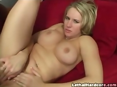 Cassidy strips, shakes her ass and gets her cunt licked on all fours by Lee before giving him head.  Her head bobs and weaves all over his cock like a pro.  She deep throats his wang and then lays back for a good pounding.  She moans loudly while his wiener bangs her.  When she gets on all fours for a doggy-style bang, this girl takes a break with a bit more head and then mounts him..