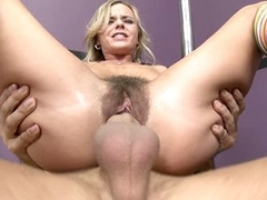 Hairy bitch Bree Olson gets her pussy filled with man sausage and loves it
