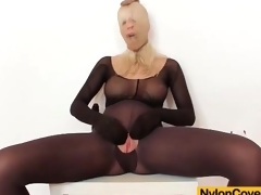Solo pantyhose fetish porn with big tits golden-haired