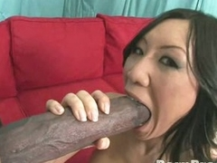 Asian Tia Ling gets a massive hard boner in her sweet hot mouth.