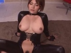 Spoils plus busty Oriental doll in the matter of leather suit rides a big one