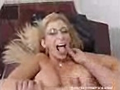 Large titted mommie Sara Jay gets facialized by a huge load of cum