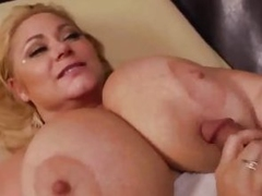 Samantha 38G receives her tits drenched with warm jizz