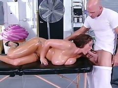 Ultra buxom lady Eva Notty got her curvaceous forms massaged by Johnny Sins