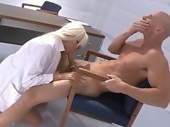 Ultra stunning and buxom Doctor Rikki Six can cure blue-collar disease with her modern ways of therapy
