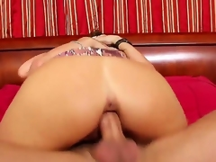 Captivating and amazing babe Kristal Summers is having a lot of fun having her wet and trimmed pussy drilled by a huge cock while she is showing her bug and round breasts and ass.