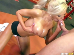 Nina Elle is his adorably hot busty personal coach that shows her huge boobs eagerly. Topless sporty blonde with wet big melons finds his dick hard and gives head eagerly. Then he licks her tasty pussy and her firm ass