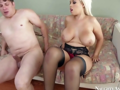 Bridgette B is a sexy big racked teacher that pays a visit to student Anthony Rosano and they have a great time fucking. Big breasted slut gets her juggs and vagina fucked good