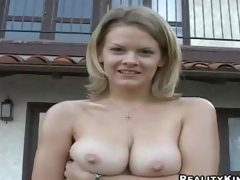 Cute blonde lady Bailey Bliss demonstrates her lovely natural hooters outdoors and indoors, She gets her juicy boobs touched by curious guy before this babe pulls down her white panties to show her clean cookie