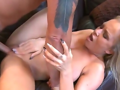 Aroused hunky dude Dale Dabone with a sleeve tattoo enjoys in getting his hard rod into Jessica Moores shaved taco on his couch in the living room and ramms her hard