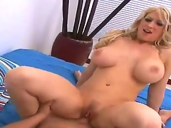 Hawt and breasty blonde Candy Manson erected Hunters big dick with deep suck and stuffed it in her shaved pussy with pierced clitoris.