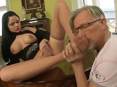 Anastasia Brill with her big boobs is relaxing with old fart Christoph Clark. He starts with giving nice cunnilingus to the beauty. Yeah, dude licks her so well in advance of footjob.