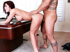 Monique Alexander with massive hooters and shaved snatch gets doggystyled by hot dude Derrick Pierce
