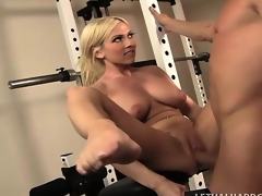 Athletic blonde cougar with amazing big tits Christie Stevens gets screwed in the gym